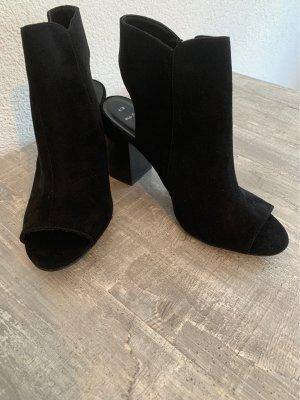 New Look Peep Toe Booties black-silver-colored
