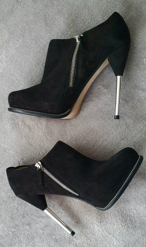 Zara Woman Buty z krótką cholewką na platformie czarny
