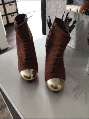 Jumex Peep Toe Booties brown-gold-colored