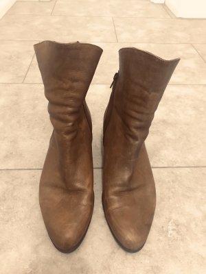 GÖRTZ LEDER BOOTS Stiefel Stiefeletten braun Wildleder