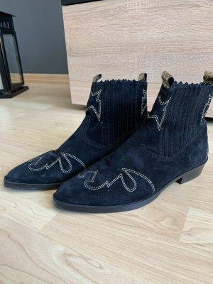 Nubikk Stivaletto western blu scuro-oro Pelle