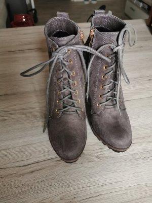 Stivaletto stringato grigio-marrone