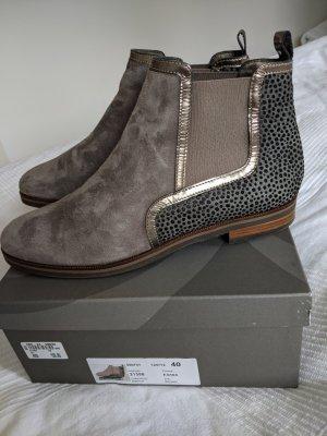 Maripé Bottines plissées gris brun cuir