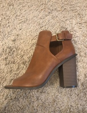 Forever 21 Cut Out Booties brown-black brown