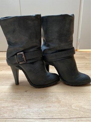 Paula Soler Slip-on Booties dark grey-grey