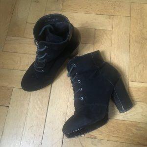 Stiefeletten mit Blockabsatz, , schwarz, Bianco, Größe 38