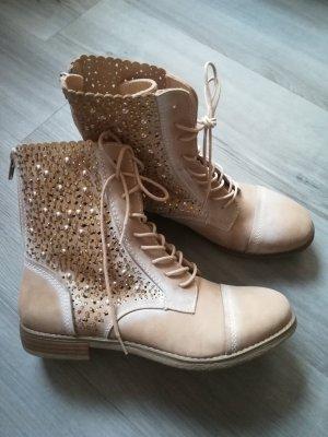 Graceland Lace-up Booties cream-beige