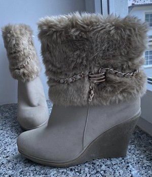 SDS Wedge Booties gold-colored-cream