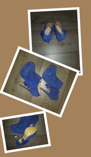 Tacones con plataforma azul Gamuza