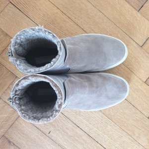 AGL Fur Boots grey brown leather