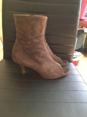 Enrico Antinori Peep Toe Booties brown leather