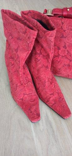 Slip-on Booties brick red mixture fibre