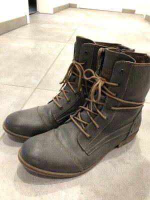 Stiefeletten schnürstiefeletten grau Nieten Boots