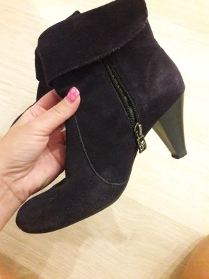 Stiefeletten Schuhe Damen Absatz lila Leder Tamaris