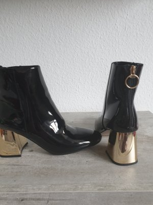 Butik Zipper Booties black-gold-colored