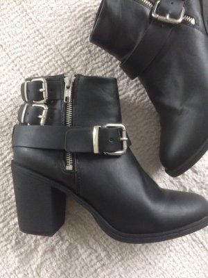 H&M Botas con cremallera negro-color plata