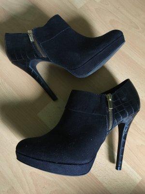 Stiefeletten Stiefel Boots in schwarz Gold von Catwalk Deichmann Größe 41 stiletto Materialmix Zipper ankle