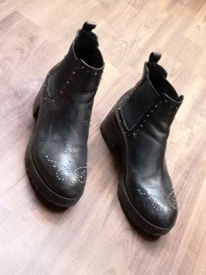 Botas deslizantes negro-color plata Cuero