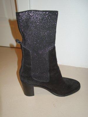 Stiefeletten Stiefel schwarz Glitzer Stretcheinsatz Größe 41 Tommy Hilfiger hoher Absatz Blockabsatz