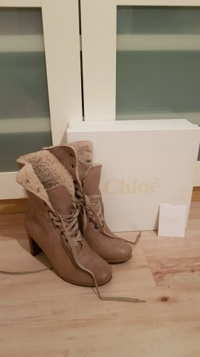 Chloé Aanrijg laarzen beige