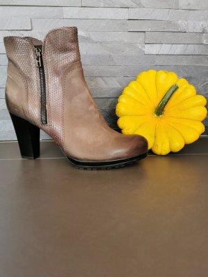 100% Fashion Bottines à fermeture éclair gris brun cuir