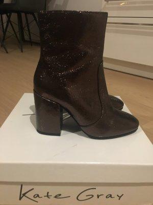 Kate Gray Wedge Booties dark brown
