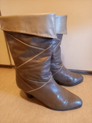 Bottines plissées gris brun-beige clair cuir