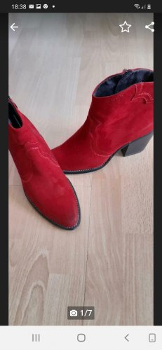 fashletics by Tamaris Western Booties brick red leather