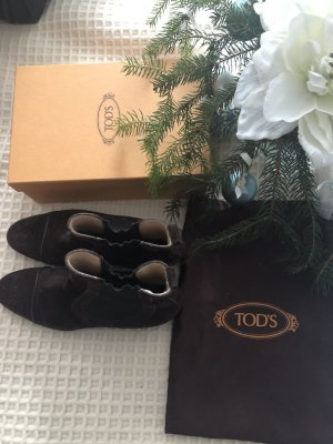 Tod's Slouch Booties black brown suede
