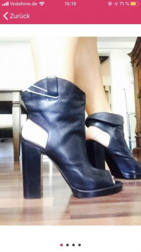Zara Cut Out Booties black leather