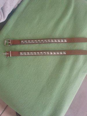 Cintura di pelle argento-cognac