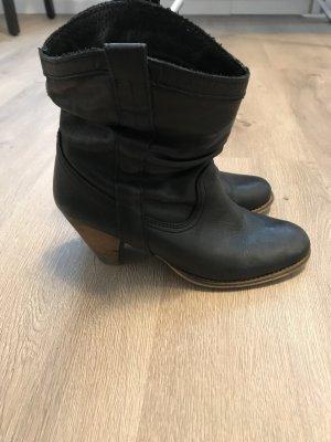 Stiefelletten Leder schwarz