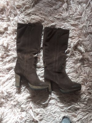 0039 Italy Plateauzool Laarzen zwart bruin-donkerbruin Leer