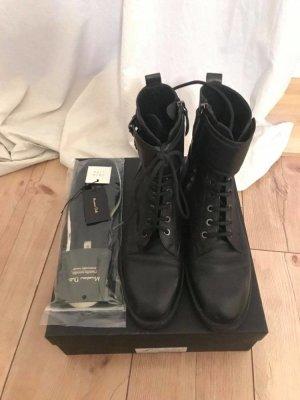 Massimo Dutti Aanrijg laarzen zwart Leer