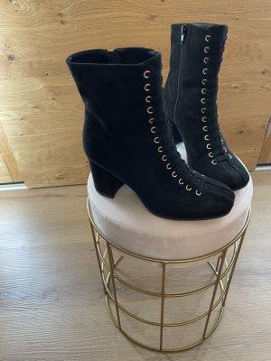 Deichmann Peep Toe Booties black-gold-colored