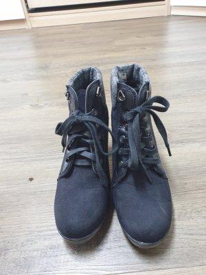 Bottines à lacets noir-gris