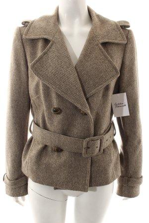 STIFF Wolljacke beige-braun meliert klassischer Stil