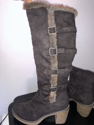 Fur Boots grey brown-dark grey