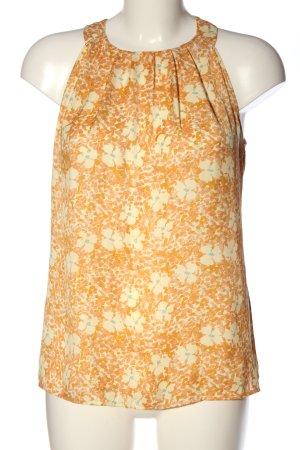 Stile Benetton ärmellose Bluse hellorange-wollweiß Blumenmuster Business-Look