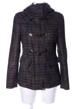 Stile Benetton Duffel Coat brown check pattern casual look