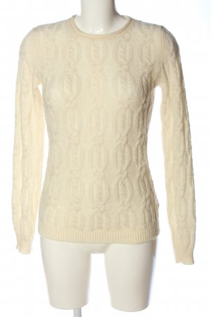 Stile Benetton Crochet Sweater natural white cable stitch casual look