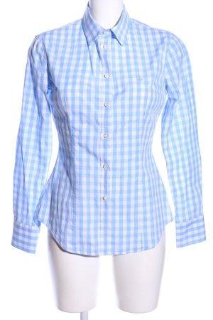 Stile Benetton Hemd-Bluse blau-weiß Allover-Druck Casual-Look