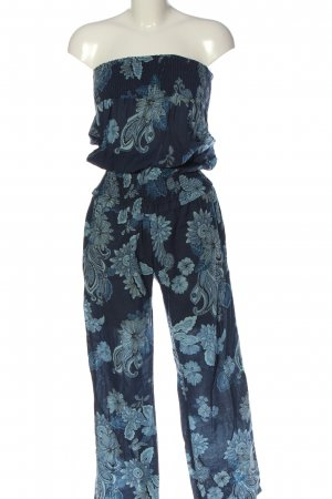 Stile Benetton Jumpsuit blau Blumenmuster Casual-Look