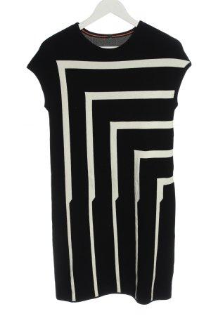 Stile Benetton Robe pull noir-blanc motif rayé style décontracté