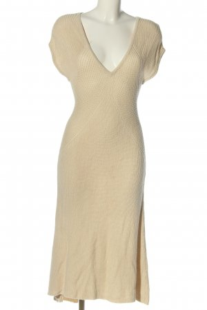 Stile Benetton Gebreide jurk bruin kabel steek casual uitstraling