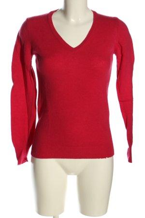 Stile Benetton V-Ausschnitt-Pullover rot Casual-Look