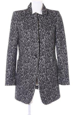 Stile Benetton Wintermantel schwarz-wollweiß florales Muster Business-Look