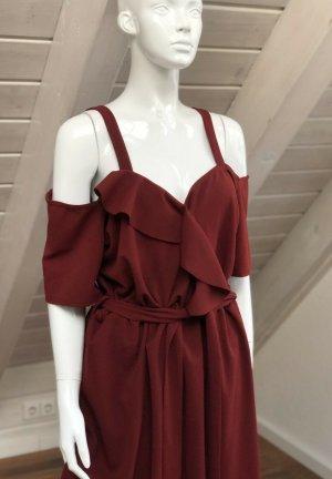 Vestido elástico rojo oscuro-burdeos
