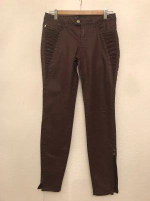 Zara Basic Pantalone a sigaretta marrone-rosso Cotone
