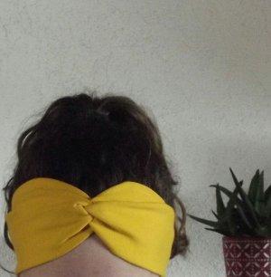 Stirnband Bandeau gelb senf Raffung Boho